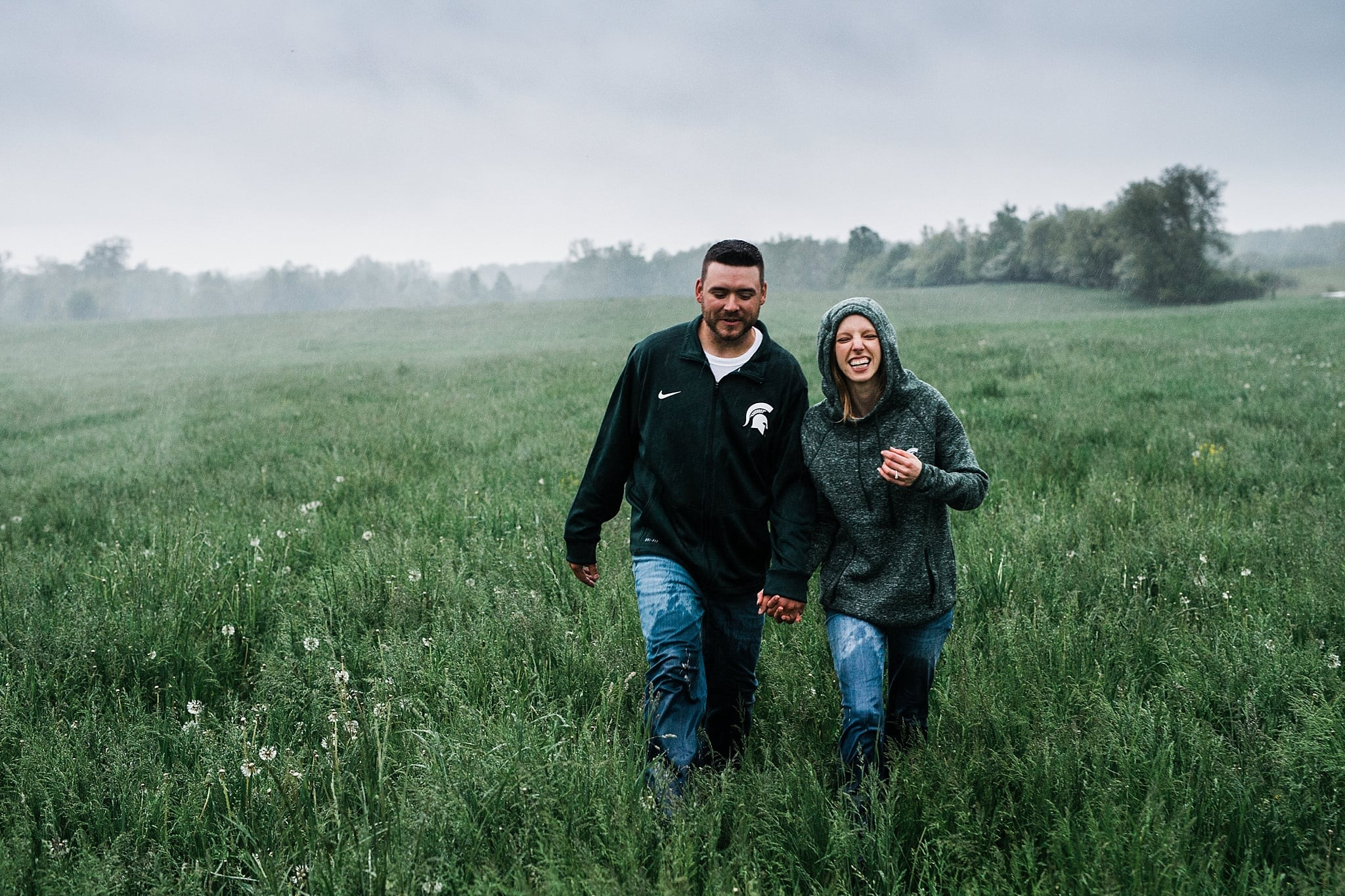 Engagement Session in the rain field mist romantic intimate michigan wedding photographer ME+HIM Photography Detroit Ann Arbor Grand Rapids