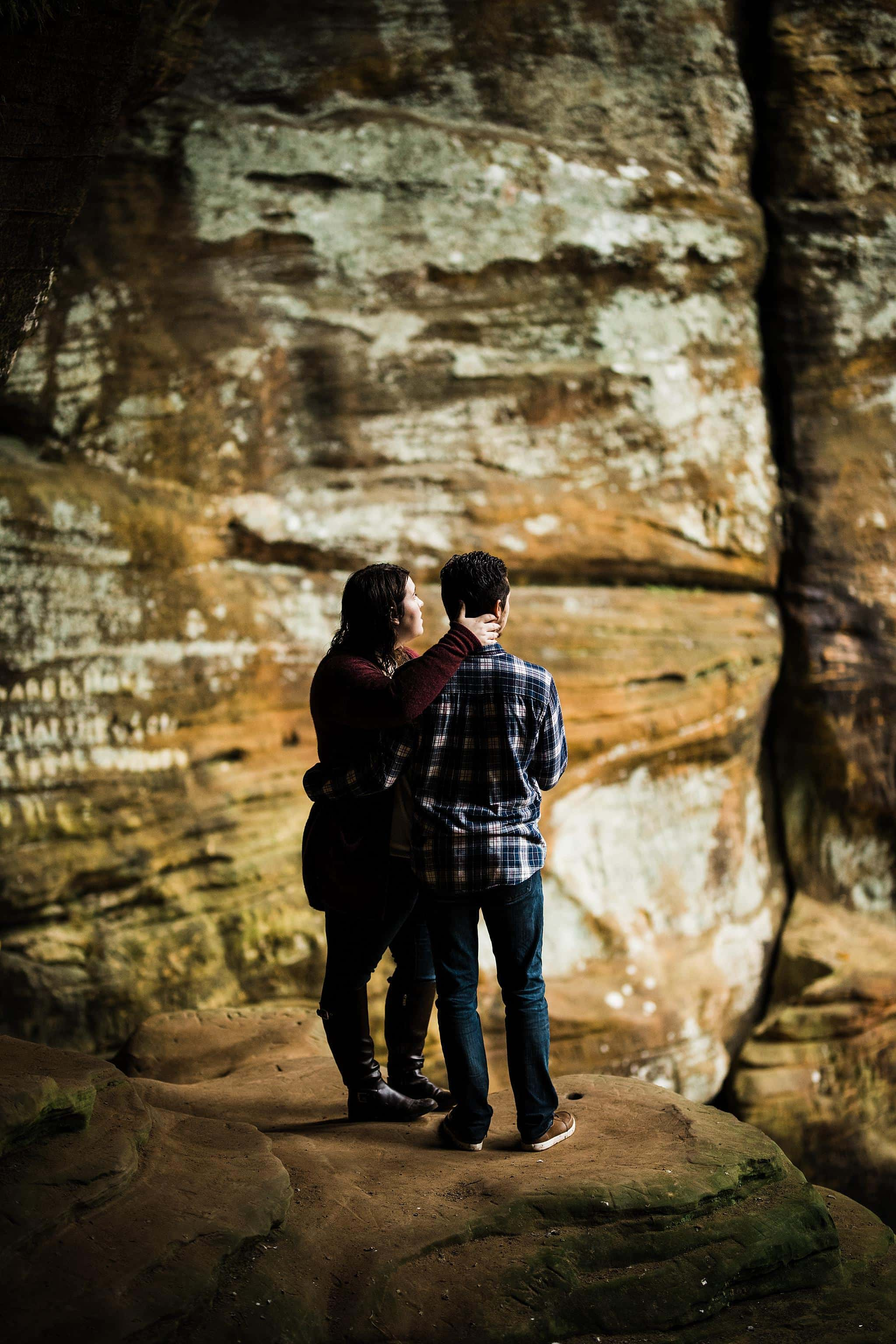 An adventurous elopement adventure session at hocking hills Ohio state park in Rock House, Whispering Cave and Conkle's Hollow by Michigan Wedding Photographer ME+HIM Photography
