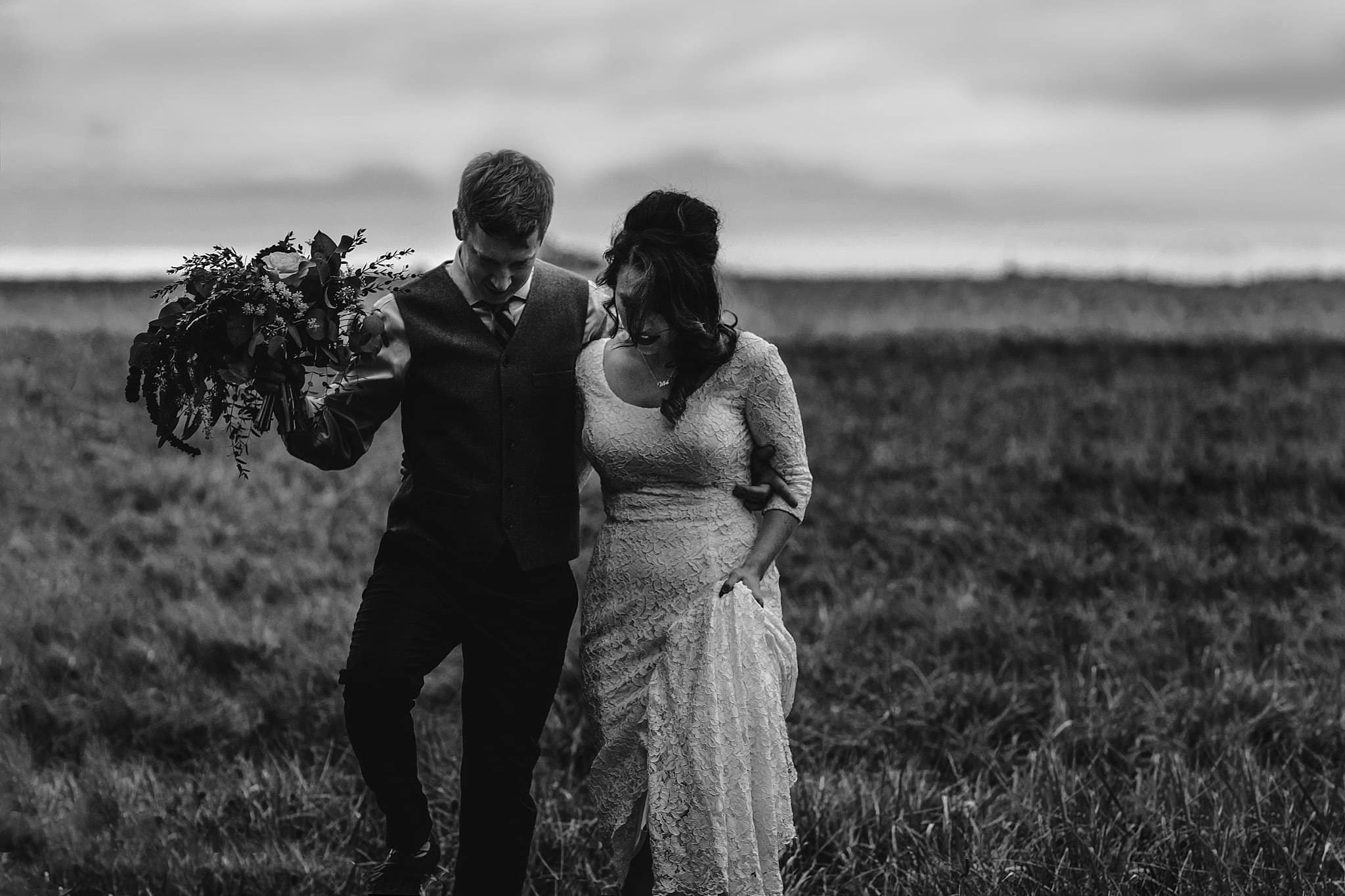 Intimate wedding with romantic vibes and a Boho chic gown, eclectic florals with succulent bouquet and it happened at Nazareth Hall, a Wedding Venue near Toledo Ohio by Ohio Wedding Photographer ME+HIM Photography